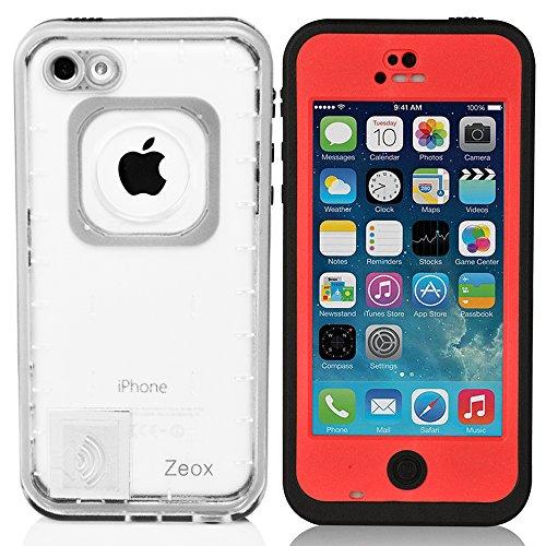iPhone 5C Case, Zeox iPhone 5C Waterproof Shockproof Dirtproof Snowproof Protection Case Cover for Apple iPhone 5C - Red