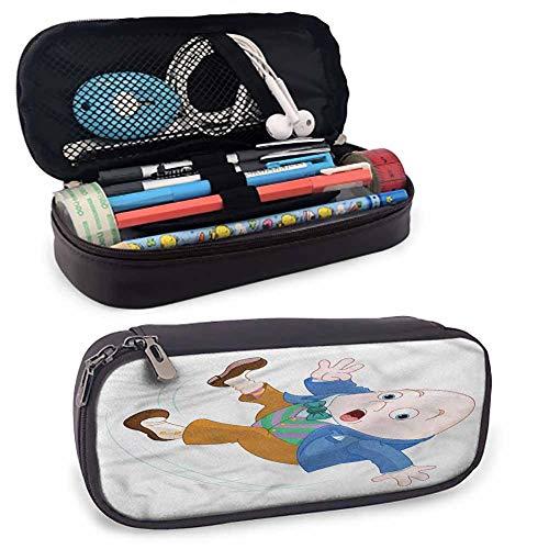 Alice in Wonderland Leather Pen Case, Humpty Dumpty Art Color Pencils Pouch 8'x3.5'x1.5'