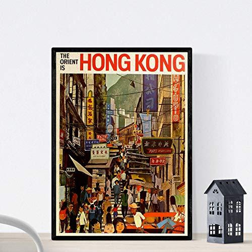 Nacnic Poster Vintage. Cartel Vintage de Asia. Calle de Hong Kong. Tamaño A3
