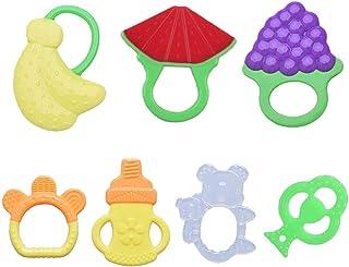 Second Sunny 7Pcs Baby Teething Toys Soft Teether Toys Mejor para bebés y niños pequeños Dentición Alivio para el Dolor: n...