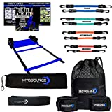 Kinetic Bands Speed and Agility Ladder Kit - Leg Resistance Bands and Speed Training Workout Ladder – Digital Training Downloads (Level 2: (Ages 13 and Over): Blue, Green, Orange, Red)