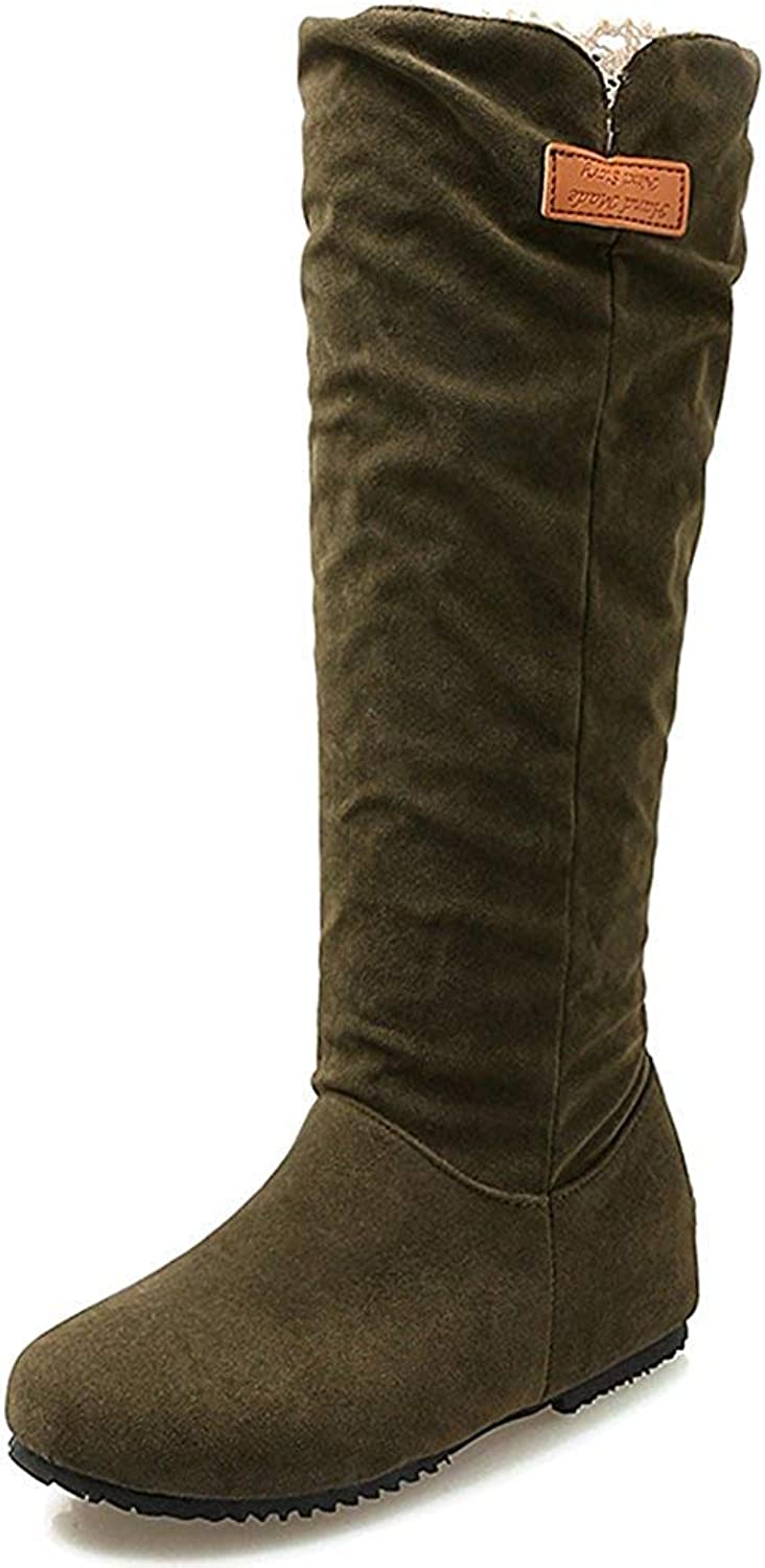Wallhewb Women's Casual Faux Suede Round Toe Heighten Inside Slip On Biker Mid Calf Slouch Boots shoes Without Laces Easy to Match Skinny Closed Back Antiskid Leg Lenth Black 8 M US Boots shoes