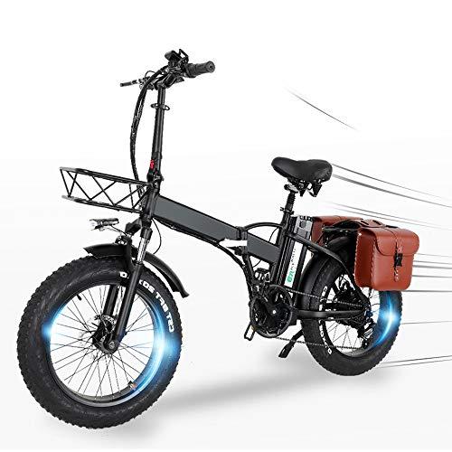 Bicicleta Eléctrica Plegables GW20 Neumáticos gordos de 20 x 4,0 Cinco velocidades Motor de 750 W Batería Grande de 15 Ah Alcance de hasta 100 km Velocidad máxima 45 km/h - [Directo de la UE]