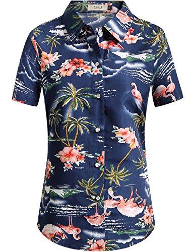 SSLR Camisa de Manga Corta Estilo Hawaiana con Estampado de Flamencos paea Verano Fiesta de Mujer (Medium, Azul Oscuro)