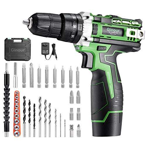 Cordless Drill Driver, Ginour 12V Combi Drill, 25N.m Hammer Drill with,18+3 Torque, Electric Drill Screwdriver with 2000mAh Li-Ion Battery, 34 Accessories, Double Speed, Led Light