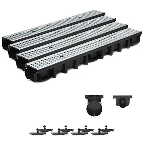 4m Entwässerungsrinne Terrassenrinne Stahlrost verzinkt komplett SET, System A15 98mm