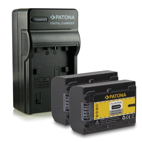 Patona Caricabatterie 4 in 1 con 2 batterie X NP-FV50 per Sony DCR-SR58E DCR SR15E DCR SR88E HDR XR350E DCR DVD610E DCR-Sx53E e altro