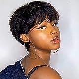 TOOCCI Parrucca Donna Capelli Umani Veri Parrucche Capelli Veri Corta Pixie Cut Wigs Straight Short Bob Brazilian Human Hair Wigs 130% Density (S44#N)