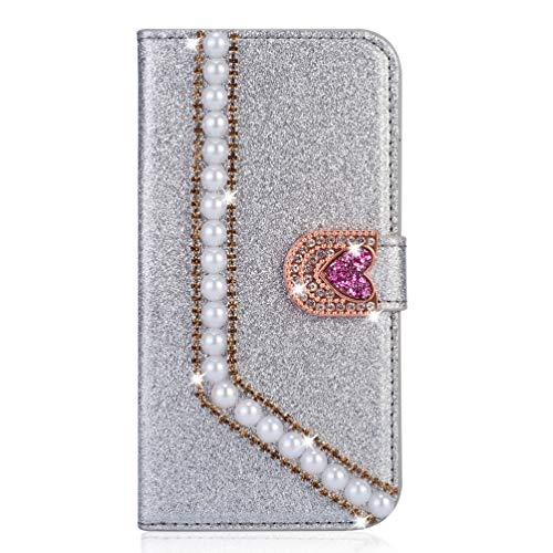 Miagon Hülle Glitzer für Huawei P40 Lite E/Y7P,Diamant Strass Perle Herz PU Leder Handyhülle Ständer Funktion Schutzhülle Brieftasche Cover,Silber