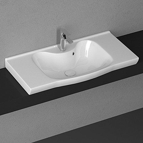 Aqua Bagno keramische wastafel, 90 cm, wastafel, meubelwastafel, opzetwastafel, wastafel, wit