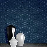 Papier Peint Metro Illusion Géométrique - Bleu Marine et Or - WOW005 World of...