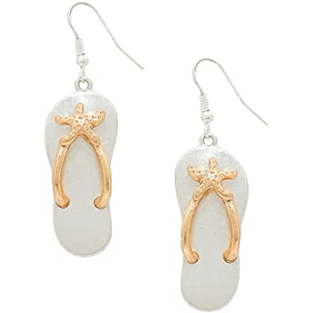 Liavy's Two Tone Starfish Flip-Flop Sandals Fashionable Metal Earrings - Fish Hook - Unique Gift and Souvenir - 2 Colors