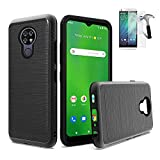 Phone Case Compatible with Cricket Ovation/AT&T Radiant-Max Case/Ovation Tempered Glass + Brush Shock Absorbing Dual-Layered (Brush Black +Tempered Glass)