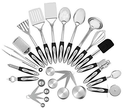Chef essential 23-Pc Stainless Steel Kitchen Utensil Set, Best Christmas Gift Ever, Everything You...