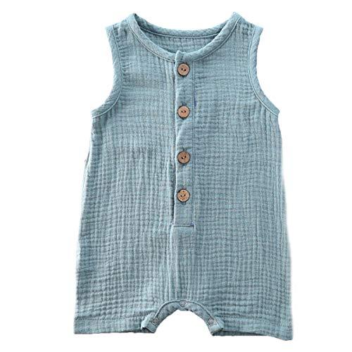 Unisex Baby Girls Boys One Piece Romper Sleeveless Button Bodysuit Jumpsuit Shorts Pajams Clothes Set 0-24M (Blue, 6-12M)