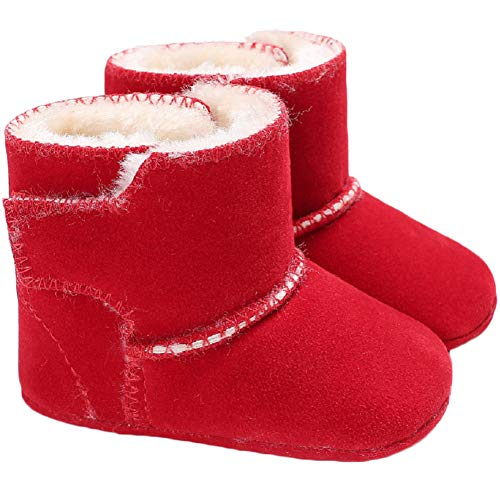 Baby Winter Buttons Snow Boots Warm Shoes Anti-Skid Plush Ankle Booties Newborn Infant Crib Boots(Pink 0-6 Months Infant)