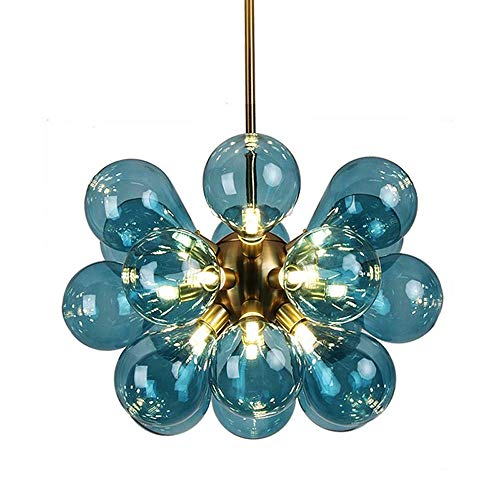 Chandelier Creative Personality Art Simple Bar Instrument Bar Glass Spherical Chandelier G9,60CM Retro Industrial S.Y.MMYS (Color : E Blue)