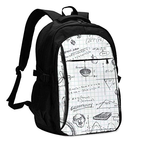 IUBBKI Trigonometry Math Class Doodle Office & School Supplies with USB Data Cable and Music Jack Laptop Bags Computer Notebook 18.1X13.3 inch