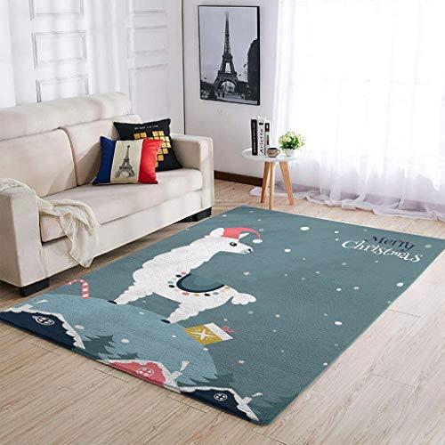 Alfombra con diseño navideño de alpaca, para salón, dormitorio, porche, color blanco,...