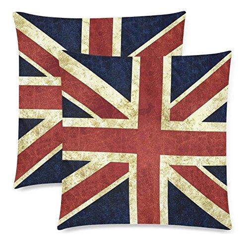 Liuzhis Juego de 2 fundas de almohada de algodón con diseño de bandera británica, 45,7 x 45,7 cm, color rojo y azul con cremallera, diseño de bandera de Inglaterra