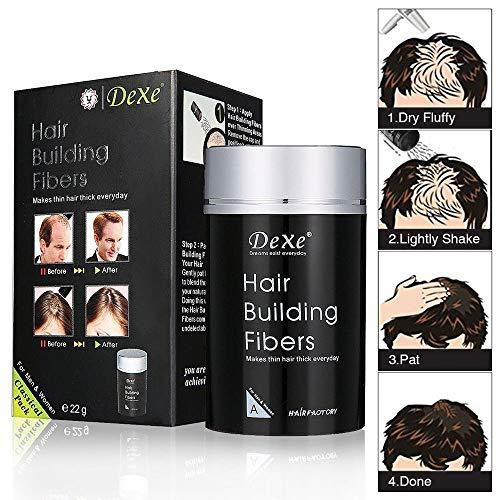 Dexe Hair Building Fibers,Sky-shop Hair Re-growth Powder Keratin Hair Fiber,Thinning Hair and Bald Spots Hair Fibers for Women and Men(Black)