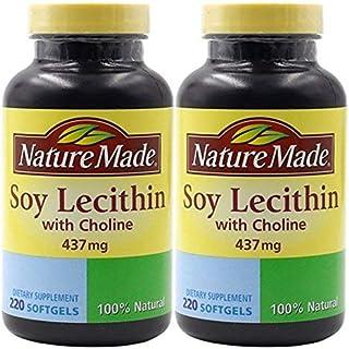Nature Made莱萃美非转***大豆卵磷脂软胶囊 鱼油好搭档220粒 (2瓶)