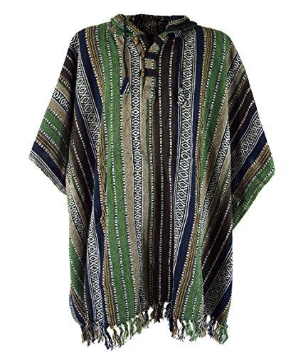 Guru-Shop Poncho Hippie Chic, Ethno Poncho, Andenponcho, Herren/Damen, Grün/schwarz, Baumwolle, Size:One Size, Jacken, Strickjacken, Ponchos Alternative Bekleidung
