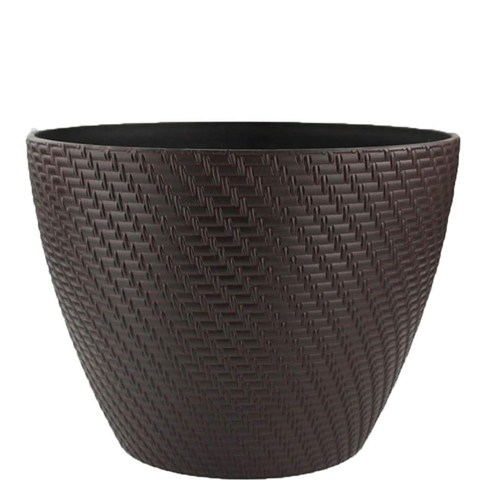 サーキットに行くめ言葉熟達したガーデニング工具鉢-ChenMyi 模造籐織りフラワーポット、大植物緑植物コンテナパークパティオブラウンプラスチックフラワーポットラウンドフラワーポット耐久性 ベッドヘッド植物装飾容器 (Color : B)