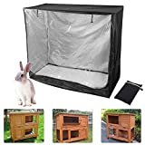 Raword Rabbit Cage Cover,Thickening Rabbit Hutch Cover 420D Waterproof Rabbit Cage Dust Cover Double Layer Bunny Hutch Cover (48 inch)