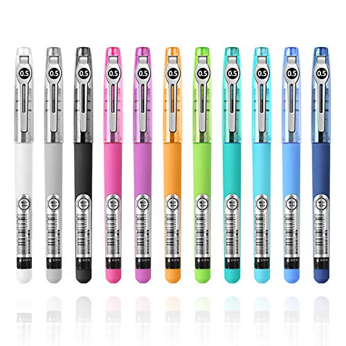 STAPENS Rollerball Pens, Fine Point Pens with Quick-Drying Ink, 0.5 mm Black Rolling Ball Pens for Journaling, Planner