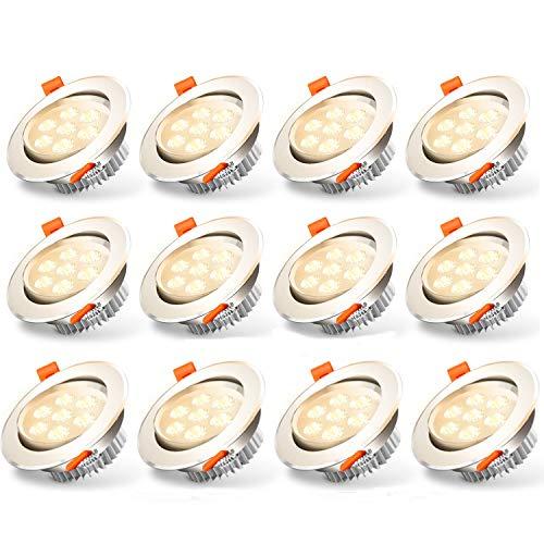 Hengda Faretto LED,12x 7W Incasso Rotondo Faretti LED Incasso Dimmerabile Bianco Caldo 3200K Equivalenti a 60W, IP44 per Cucina Bagno Scala Corridoio
