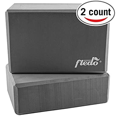 Fledo Yoga Blocks (Set of 2) 9 x6 x4  - Eco-friendly EVA Foam Brick, Featherweight and Comfy - Provides Stability and Balance - Ideal for Exercise, Pilates, Workout, Fitness & Gym (Grey)