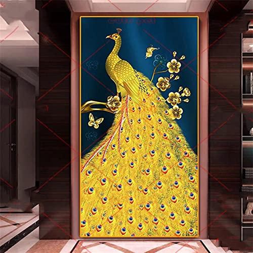 DIY Diamond Painting Full Drill Completo Kit tamaño grande Pavo real dorado Round drill 80x160cm Diamante Arte Bordado 5D DIY Pintura de Diamante punto de cruz Mosaico Imagen Regalo Decoracion Pared
