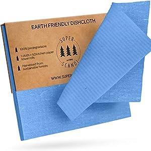 SUPERSCANDI - Paños de Limpieza suecos ecológicos, Reutilizables, sostenibles, biodegradables, esponjas de celulosa