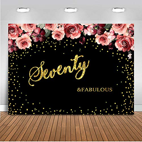 Mocsicka Seventy and Fabulous Birthday Backdrop 8x6ft Pink Rose Gold Spots 70th Photography Backdrops Happy Birthday Photo Booth Background for Lady