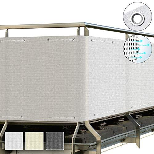 Sol Royal SolVision Balkon Sichtschutz HB2 HDPE blickdichte Balkonumspannung 90x300 cm – Geländer Sichtschutz Weiß - mit Ösen und Kordel - in div. Größen & Farben