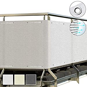 Sol Royal Protección Visual SolVision HB2 HDPE Pantalla Opaca 300x90 cm Blanco balcón privacidad con Ojales Cuerdas