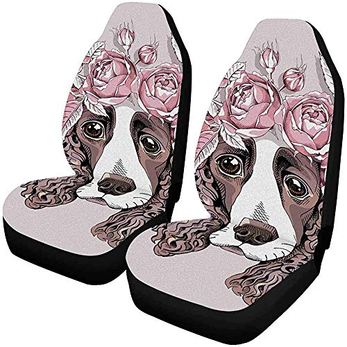 Spaniel Dog Rose Flower Head Wreath Fundas para asientos delanteros, f