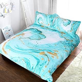 BlessLiving Chic Girly Marble Duvet Cover Mint Gold Glitter Turquoise Bedding Comforter Set Abstract Aqua Teel Blue Duvet Cover (Full)