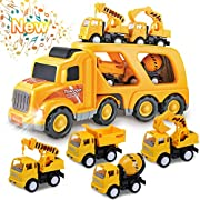 #LightningDeal Toys for 1 2 3 4 5 6 Year Old Boys, Kids Toys Truck for Toddler Boys Girls, 5 in 1 Friction Power Construction Toys Car Carrier Vehicle for Age 3-9 Boys Christmas Birthday Gifts for Kids Age 3 4 5 6