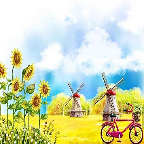 Fotobehang, vlies, 3D, muurverf, zonnebloem, voor de muurkleur, voor fiets, wand, slaapkamer, kinderkamer 200*140 200*140
