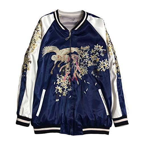 Floral Phoenix Embroidery Bomber Jacket Women Harajuku Pilot Jacket Casual Basic Jackets,Blue,S