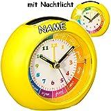 alles-meine.de GmbH LED Licht - Kinderwecker / Lernuhr - Analog -  GELB  - inkl. Name - Lernwecker - + -1 Minuten Schritten Anzeiger - Lichtwecker - Lernzifferblatt - für Kinde..