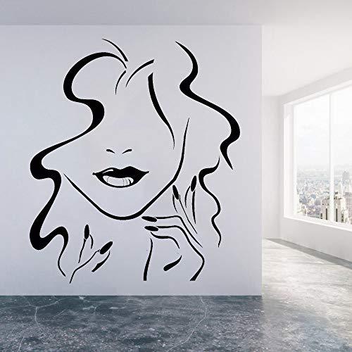 WSYYW Sexy Woman Vinyl Wall Decal Girl Beauty Salon Lips Nail Makeup Decoration Living Room Bathroom Wall Sticker