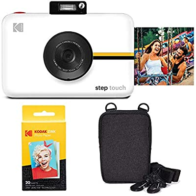 Kodak Step Touch 13MP Digital Camera & Instant Printer with 3.5 LCD Touchscreen (White) Go Bundle by Kodak