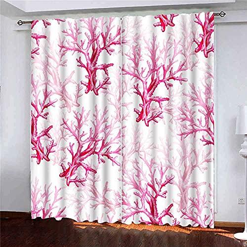 Gardiner 2 paneler akvarell hav korallmönster bakgrund webbsidor bröllop spara datumkort rosa för inbjudningar till vardagsrum sovrum dekor