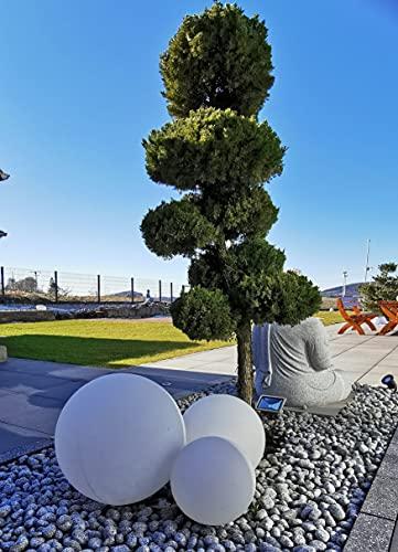 Trango 3er Set 33400 IP44 Gartenkugel in Weiß mit 30/30/40cm Durchmesser *GARDEN* Kugelleuchte mit je E27 LED Leuchtmittel & je ca. 5 Meter IP44 Kabel, Gartenleuchte, Leuchtkugel, Gartenlampe