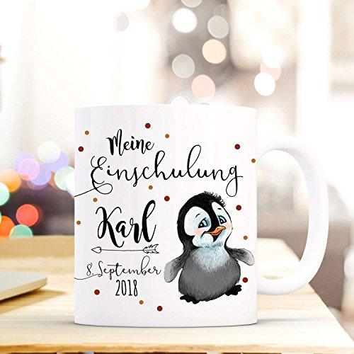 ilka parey wandtattoo-welt Tasse Becher Einschulung mit Kleiner Pinguin Punkte Spruch Wunschnamen und Datum Kinderbecher Geschenk ts702