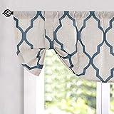 jinchan Moroccan Tile Print Curtain Tie Up Valance for Bedroom Curtain Quatrefoil Flax Linen Blend Textured Geometry Lattice Rod Pocket Window Treatment Set for Living Room 1 Panel 18' L Blue