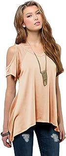 Women`s Vogue Shoulder Off Wide Hem Design Top Shirt